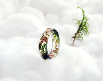 Moss ring gold ring gold flakes gift/for/her resin ring botanical ring nature ring moss necklace terrarium silver chain elven forest fairy