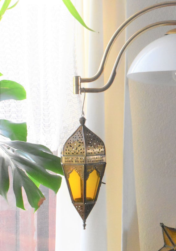 large glass brass teardrop tear drop candleholder votive hanging ornament / orange