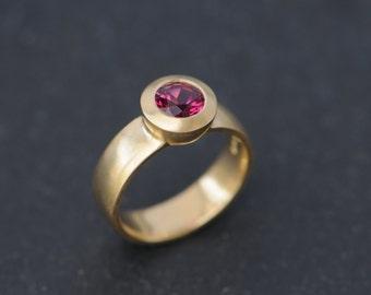 Solitaire Pink Tourmaline Ring 18K Gold Tourmaline Engagement Ring Pink Tourmaline Gold Ring Pink Gemstone Engagement Ring Size 6.25
