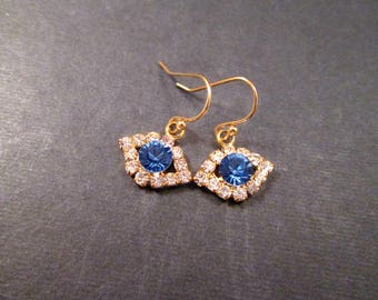 Rhinestone Earrings, Eye See You, Blue Eyes, Glass Rhinestone and Gold Dangle Earrings, FREE Shipping U.S.