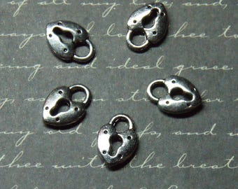 5 mini charms 9x13mm silver heart padlock
