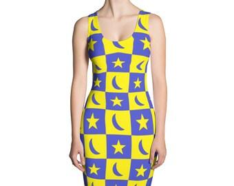 Womens Dress,Moon,Stars,Blue,Yellow,Summer,Dresses,Spring,Long,Evening,Printed,Unique,Fashion,Girls,Clothing,Design,Cute