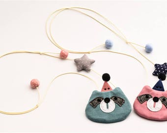 Raccoon in Party Hat Necklace