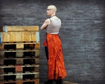 Jupe en soie steampunk avec sentier / Burning Man festival Jupe / post apocalyptique jupe en soie orange. Taille s-xl