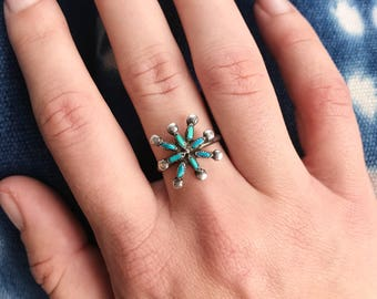 Vintage Zuni sterling and eight-stone turquoise petit point starburst ring >>Size 6.5<<