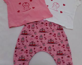 Set size 6 months harem pants and 2 tee shirts pattern owls