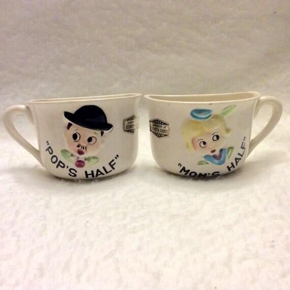 Mom's Half Pop's Half vintage 1940s coffee cups. Souvenir Herington KS. Free ship