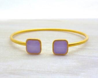 Purple Bracelet, Open Bangle Bracelet , Dual Bangle Bracelet, Square Bracelet, Gold Bracelet, Green Bracelet, Open Cuff Bracelet, Gift Mom