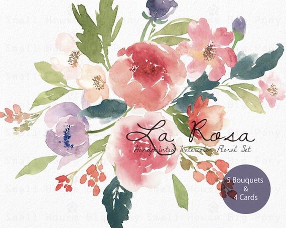 Watercolour Floral Clipart. Handmade, watercolour clipart, wedding diy elements, flowers - La Rosa Bouquets