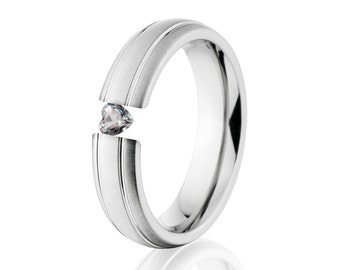 Tension Set Ring, Uniquley You, 6mm,  Titanium Ring, Heart White Sapphire, 6HR2G-XB-HRT-Tension