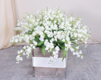 Topiary silk flower arrangement wedding centerpiece spring wedding centerpiece spring summer silk flower arrangement white lily of the valley centerpiece mightylinksfo