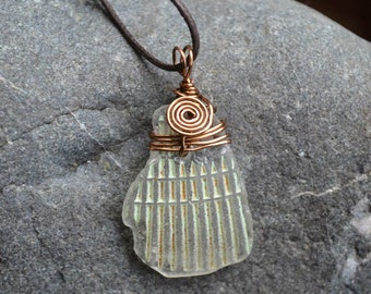 FREE SHIPPING Sea glass necklace - Sea glace pendant - Sea glass jewelry - Antiqued brass wire wrapping - Adjustable dark brown cord