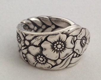 "Spoon Ring ""Ward Bouquet""  1936 Silverware Jewelry Vintage Silverplate 6 to 12 Choose Your Size"