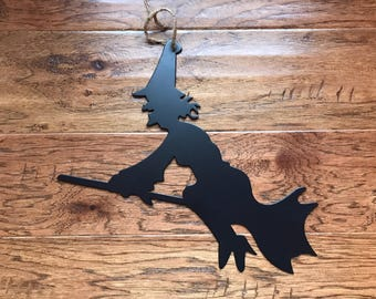 Witch On A Broom Halloween Metal Sign / Halloween Decoration/ Halloween Metal Sign/Home Decor / Wall Decor