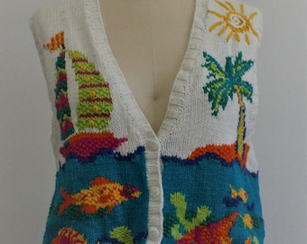 Fantastic Hand Knit Vintage 1990s Button Up Sweater Vest With Water Scene of an Island, Sailboat and Underwater View, Size M