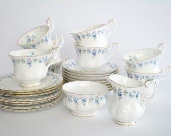 Set of 8, Royal Albert England Bone China Memory Lane China Pattern Tea Set, Tea Party