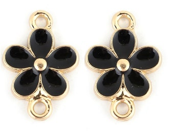 connectors x 2 black metal flowers gold