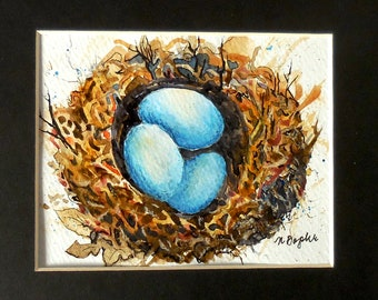 Bird Nest with Eggs Watercolor Painting: Nest Art, Watercolor Bird Nest, Egg Art, Bird Nest Art, Small Art, Original Art, Spring Decor