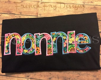 Grandmother Brag applique Short-Sleeve T-Shirt for NONNIE Customized and Personalized