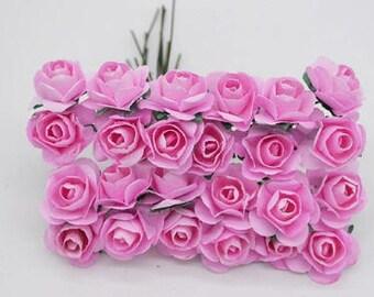 12 pcs Pink Paper Roses - 2cm Each Flower
