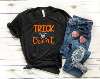 Halloween Shirt - Trick or Treat Shirt - Funny Halloween Shirt - V-neck Halloween Shirt  - Women's Halloween Shirt - Halloween Party Shirt