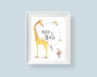 Giraffe Print Reach For The Stars, Safari Nursery Decor Inspirational Quote Printable Wall Art, Boy or Girl 8x10 11x14 Instant Download
