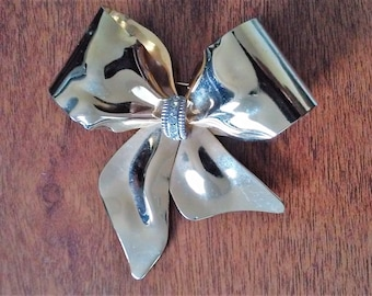Vintage White Rhinestone Polished Gold and Silver Tone Metal Bow Brooch Wedding Pin Mother's Day