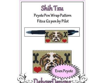 Peyote Beading Pattern (Pen Wrap/Cover)-Shih Tzu