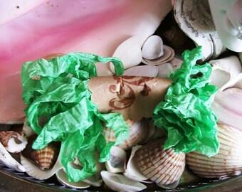 Vintage- Seam Binding- Crinkled-Spring Green-Silky-Shabby