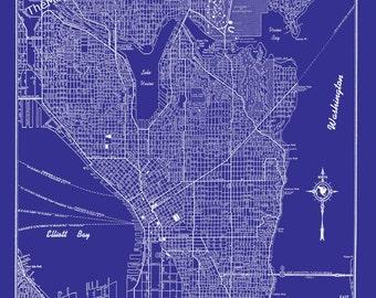 Seattle Map -- Seattle Blueprint Map - Seattle Street Map - Vintage Print Poster