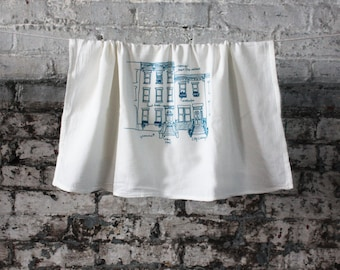 Rowhouse Brownstones Tea Towel, City Tea Towel, Kitchen Towel, Apartment dish Towel, White Cotton Dish Towel, Housewarming Gift Hostess gift