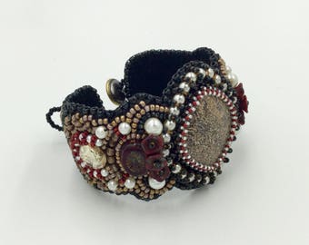 Bead embroidery cuff, beaded bracelet, artisan bracelet, original jewelry, handcrafted, one of a kind bracelets