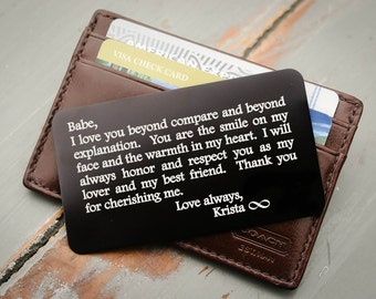 Engraved Wallet Insert, Metal Wallet Insert, Personalized Wallet Card: Valentines, Anniversary Gift for Men, Wedding Day Grooms Gift for Him