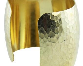 """Hammered Domed Brass Cuff Bracelet 1-15/16"""" Wide (MSBR1044)"""