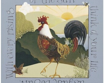 Rooster sun morning archival print lithograph folk art