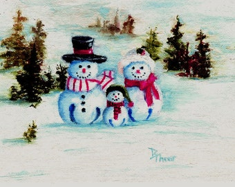 "Snowman Family Original 5x7"" a Oil Painting"