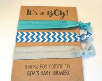 Baby Shower Favor, Elastic Hair Tie, Hair Tie Favor, Baby Boy Shower Favor, Party Favor - It's A BOY! - Hair Tie Favors - You Choose Colors!