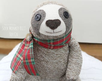 Sock Monkey Sloth Doll Childs Toy, Classic Christmas Plaid Sloth Plush