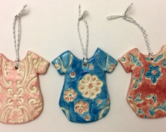 Handmade Onesie Ceramic Ornaments