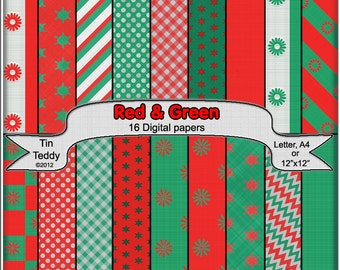 Digital Papers - Red and Green Coordinated Backgrounds for your Scrapbook, Card making and Other Crafts