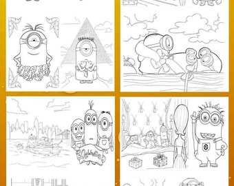 Coloring activity sheets with Minions. Coloring pictures. INSTANT DOWNLOAD