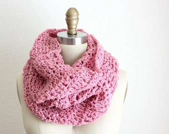 Crocheted XL Tube Cowl Pink Corals