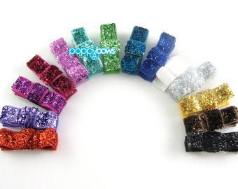 Glitter Hair Clips- Mini Snap Clips Barrettes - Full Rainbow Set 14 - Newborn Baby Hair Clips - Little Tuxedo Hair Bows mt