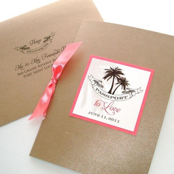Wedding Invitation Booklet Style: Sheila Passport Booklet Style Wedding Invitation Sample Tan