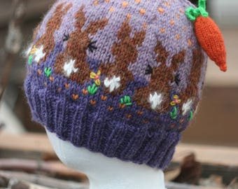 Bunnies on Hand Knit Purple Hat with Carrot Tassel