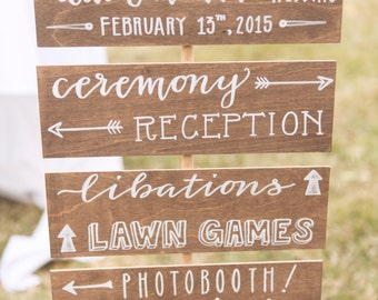 wedding signs / outdoor arrow signs / wooden directional sign / welcome sign / gift table sign.