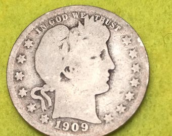 1909-D Barber Quarter Original  <> Coin you see is Coin you get / Free S&H on this order  <>#BCE-547