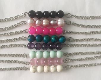 Beaded Bracelet • Beaded Bar Bracelet • Bead and Chain Bracelet • Chain Bracelet
