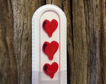Crystal Glass Nail File - Handpainted Red Hearts on Czech Crystal Glass