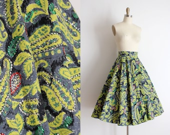 vintage 1950s felt skirt // 50s paisley sequin circle skirt